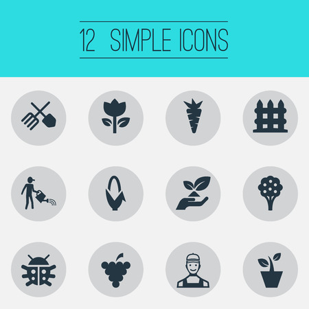 Vector Illustration Set Of Simple Garden Icons. Elements Worker, Blossom, Flowerpot And Other Synonyms Save, Human And Grower.
