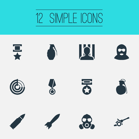 Elements Jailer, Medal, Award And Other Synonyms Gas, Rocket And Respirator.  Vector Illustration Set Of Simple Conflict Icons. Illustration