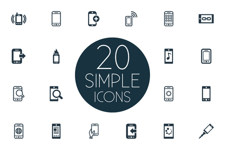 Vector Illustration Set Of Simple Mobile Icons. Elements Missing Ring, Downloading, Front Camera And Other Synonyms Tune, Mobile Phone And Message.