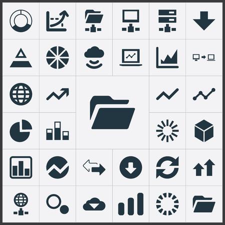 簡単な情報アイコンのベクター イラスト セット。要素データを送信する、座標軸、地球、他の同義語統計ダウンロードと成長。  イラスト・ベクター素材