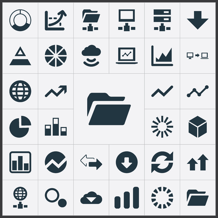 Vector Illustration Set Of Simple Information Icons. Elements Data Sending, Coordinate Axis, Earth And Other Synonyms Statistics, Download And Growth. Illustration