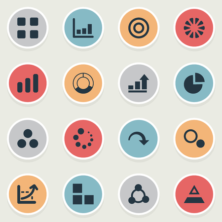Vector Illustration Set Of Simple Diagram Icons. Elements Target, Segment, Line Chart And Other Synonyms Decrease, Top And Triangle.