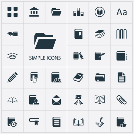 Vector Illustration Set Of Simple Reading Icons. Elements Library, Document Archive, Pile And Other Synonyms Education, Two And Books.