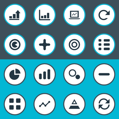 Vector Illustration Set Of Simple Analytics Icons. Elements Plus, Cube, Repeatability And Other Synonyms Selectivity, Line And Remove. 向量圖像
