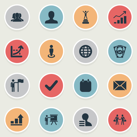 Vector Illustration Set Of Simple Solution Icons. Elements Recruitment, Cash Pay, Accomplishmeent And Other Synonyms Correct, Employee And Bill.