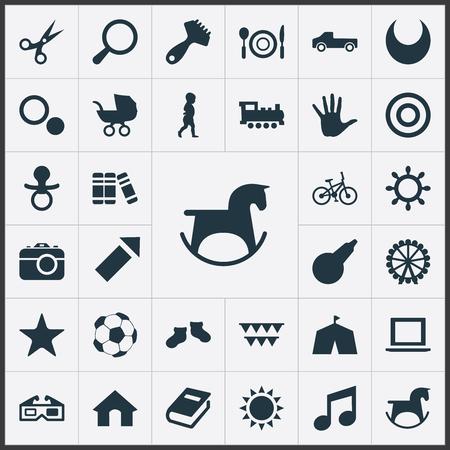 Vector illustratie Set van eenvoudige baby pictogrammen. Elements Pony, haarborstel, trein en andere synoniemenboekhandel, pony en entertainment. Stock Illustratie