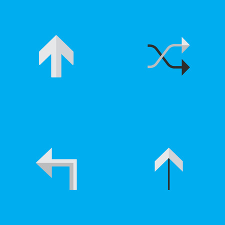 Vector Illustration Set Of Simple Indicator Icons. Elements Up, Upwards, Chaotically And Other Synonyms Shuffle, Up And Arrow.