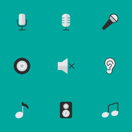 Vectorillustratiereeks Eenvoudige Melodiepictogrammen. Elementen Luidspreker, Microfoon, Luister en andere synoniemen Mic, teken en luidspreker.