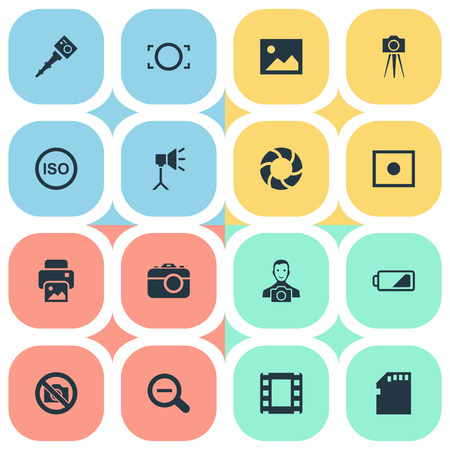Vector Illustration Set Of Simple Photograph Icons. Elements Camcorder, Energy, Rustication And Other Synonyms Enrollment, Man And Cameraperson.
