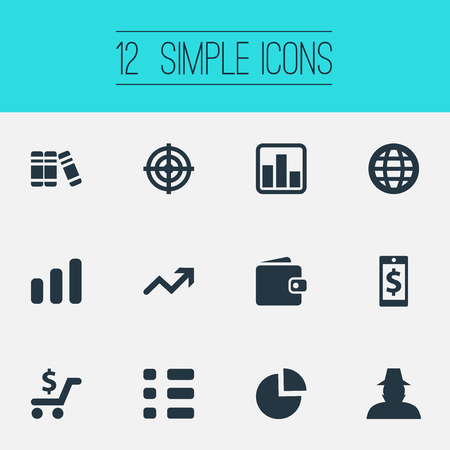 Vector Illustration Set Of Simple Financial Icons. Elements Criminal, Line Chart, Segmentation And Other Synonyms Global, Billfold And Profit.