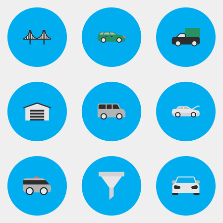 Vector Illustration Set Of Simple Shipping Icons. Elements Sedan, Automobile, Pickup And Other Synonyms Coupe, Jumper And Family.