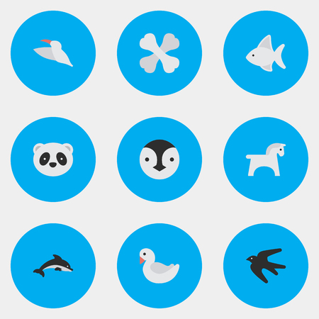 Vector Illustration Set Of Simple Zoo Icons. Elements Crane, Fish, Bear And Other Synonyms Bird, Flightless And Sparrow.