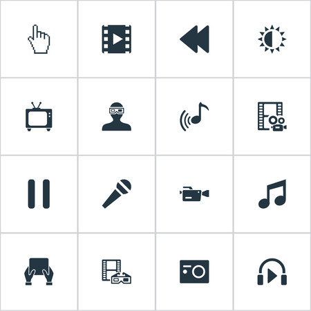 Vector illustratie Set van eenvoudige pictogrammen. Elementen Muziek Luisteren, Helderheid, Presentatie En Andere Synoniemen Achterwaarts, Bioscoop En Televisie.