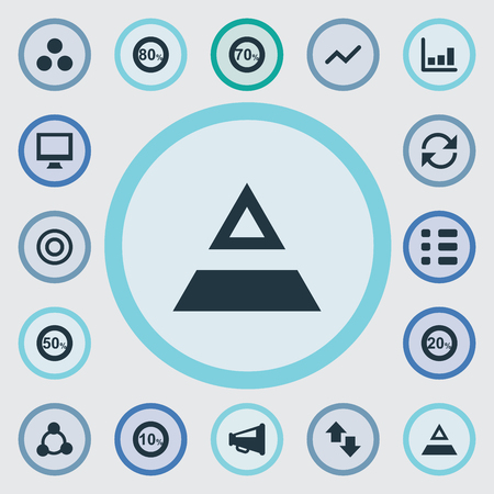 Vector Illustration Set Of Simple Statistic Icons. Elements Triangle, Segmentation, Price And Other Synonyms Up, Triangle And Cycle. Illustration
