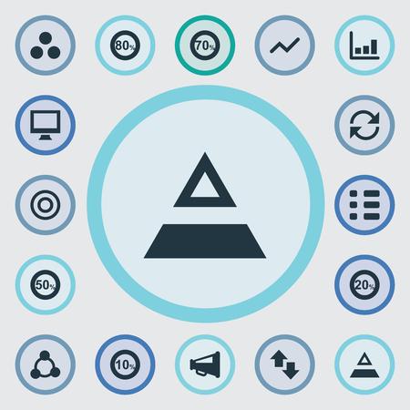 Vector illustratie Set van eenvoudige statistiek iconen. Elementen driehoek, segmentatie, prijs en andere synoniemen, driehoek en cyclus.