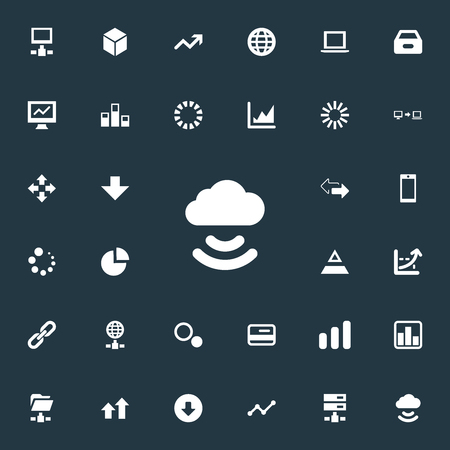 Vector Illustration Set Of Simple Analysis Icons. Elements Increase, Statistics, Earth And Other Synonyms Two, Telephone And Document.