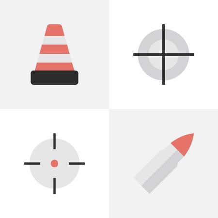 単純な攻撃アイコンのベクター イラスト セット。分離した要素、狙撃、ショット、他の同義語の狙撃銃し、コーンします。  イラスト・ベクター素材