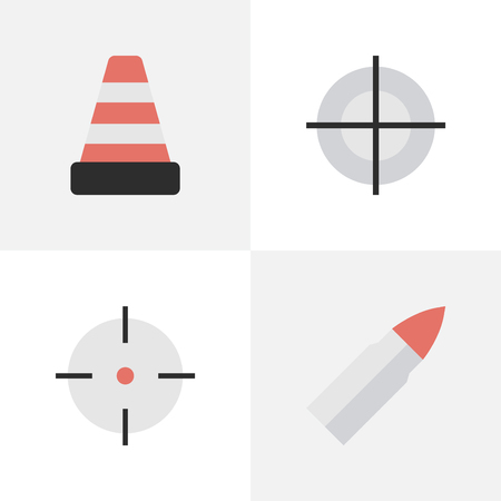 Vector Illustration Set Of Simple Offense Icons. Elements Isolated, Sniper, Shot And Other Synonyms Sniper, Gun And Cone. Illustration
