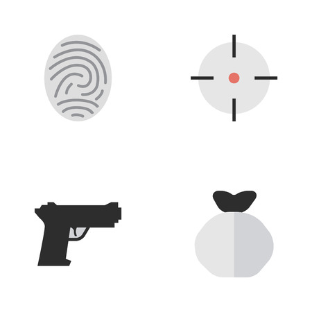 Vector Illustration Set Of Simple Offense Icons. Elements Bioskyner, Target, Moneybox And Other Synonyms Protection, Sniper And Money.
