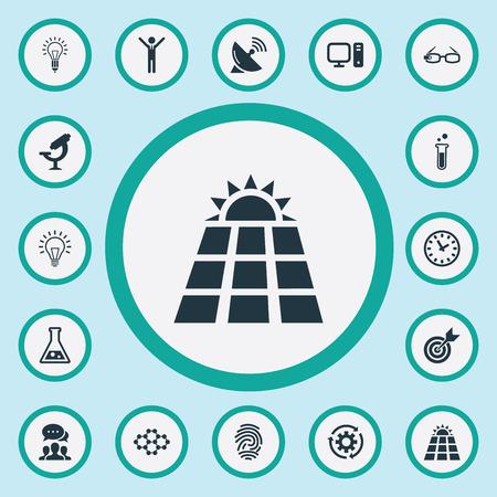 Vectorillustratiereeks Eenvoudige Innovatiepictogrammen. Elements Time, Hi-Tech Spectacles, Male en andere synoniemen Hi-Tech, Mind And Fingerprint.