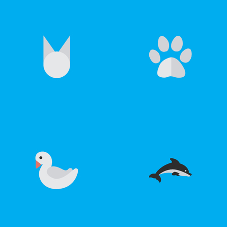 Vector Illustration Set Of Simple Zoo Icons. Elements Foot, Cat, Swan And Other Synonyms Paw, Dolphin And Goose.