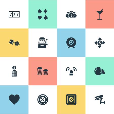 Vektor-Illustration Satz von einfachen Casino-Icons. Elemente Sucht, Glücksspiel Würfel, Vinyl Musik und andere Synonyme Wette, Slot und Glück. Standard-Bild - 84556488