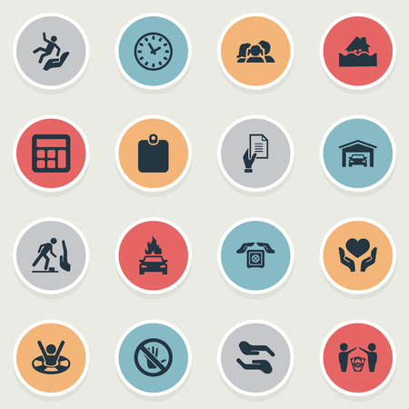 Vector Illustration Set Of Simple Guarantee Icons. Elements Slide Down, Heart In Hand, Prohibited Synonyms Man, Stop And Economy.