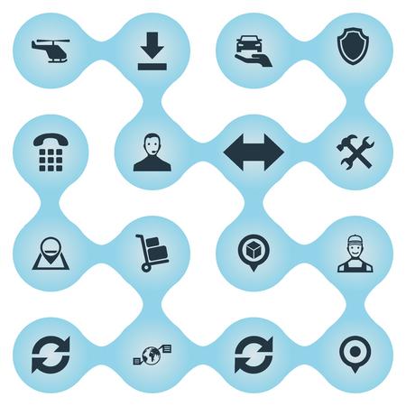 Conjunto de ilustração vetorial de ícones simples sistematização. Localização de elementos, comércio global, renovação e outros sinônimos de logística, suporte e telefone.