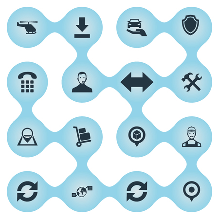 Vector Illustration Set Of Simple Systematization Icons. Elements Location, Global Trade, Renovation And Other Synonyms Logistic, Support And Phone. Ilustração