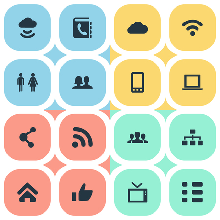 Vector Illustration Set Of Simple Communication Icons. Elements Cellphone, Telly, Partnership And Other Synonyms Vote, Computer And Television. Illustration