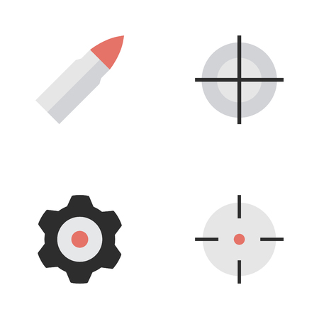 Vector Illustration Set Of Simple Criminal Icons. Elements Target, Sniper, Cogwheel And Other Synonyms Cogwheel, Sniper And Shot.