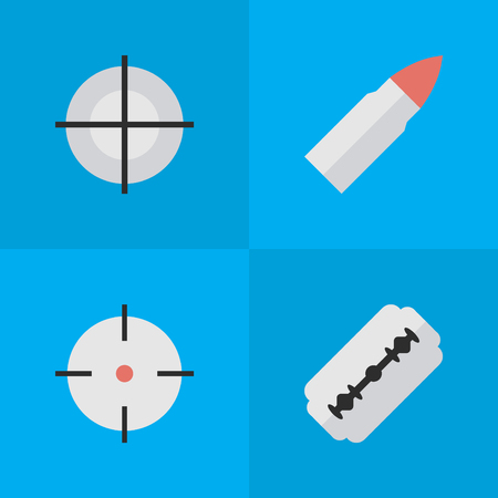 Vector Illustration Set Of Simple Crime Icons. Elements Sniper, Blade, Shot And Other Synonyms Sniper, Bullet And Goal. Illustration