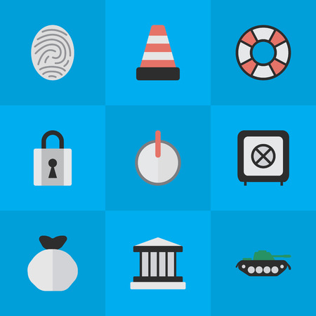 Vector Illustration Set Of Simple Crime Icons. Elements Lifesaver, Isolated, Military And Other Synonyms Bag, Jail And Tank.