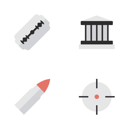 Vector Illustration Set Of Simple Crime Icons. Elements Shot, Blade, Target And Other Synonyms Gun, Target And Razor.