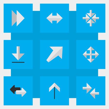 벡터 일러스트 레이 션 간단한 표시기 아이콘의 집합입니다. 넓어지는 요소, 내보내기, 위 및 기타 동의어가 넓어지고, 남서쪽으로 그리고 앞으로 나아 일러스트