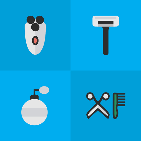Vector Illustration Set Of Simple Shop Icons. Elements Comb, Shaving Machine, Shaver And Other Synonyms Blade, Machine And Shaver.
