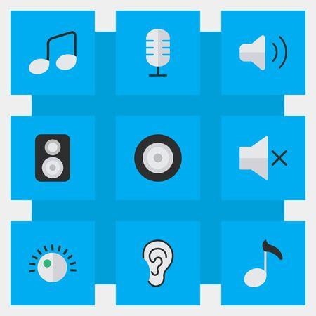 シンプルなアイコンのベクター イラスト セット。要素音楽記号、メモ、スピーカー、他の同義語ミュート スピーカーとボリューム。  イラスト・ベクター素材