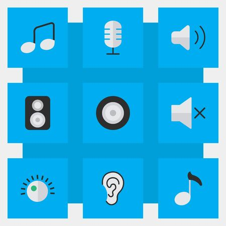 Vector Illustration Set Of Simple  Icons. Elements Music Sign, Note, Loudspeaker And Other Synonyms Mute, Speaker And Volume.