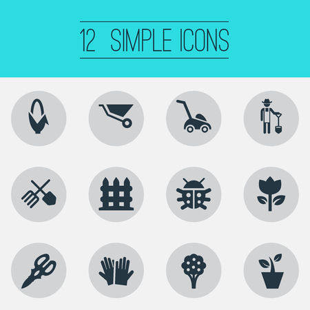 Vector Illustration Set Of Simple Garden Icons. Elements Grass Cutting Machine, Maize, Parapet And Other Synonyms Vegetable, Flower And Corn. Illustration