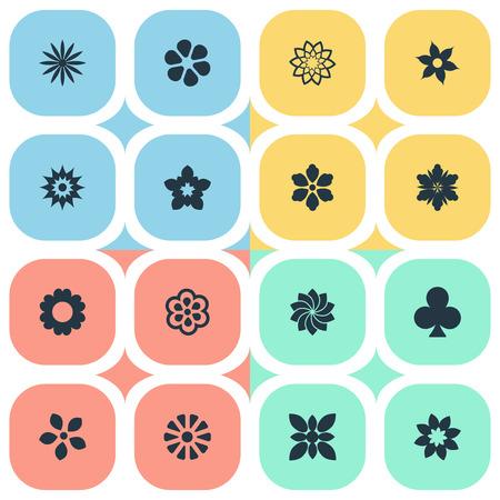 벡터 일러스트 레이 션 간단한 아이콘의 집합입니다. 요소 재 스민, 꽃잎, 장식 및 기타 동의어 장식, 영광 및 크 로커 스입니다.