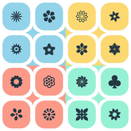 Vector Illustration Set Of Simple  Icons. Elements Jasmine, Petal, Ornament And Other Synonyms Ornament, Glory And Crocus.