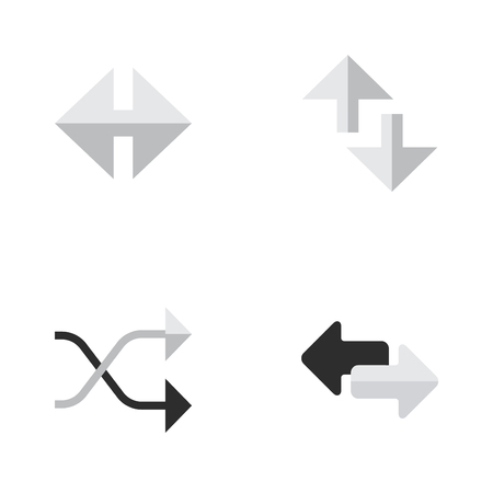 Vector Illustration Set Of Simple Pointer Icons. Elements Indicator, Import, Cursor And Other Synonyms Chaotically, Loading And Arrow. Illustration