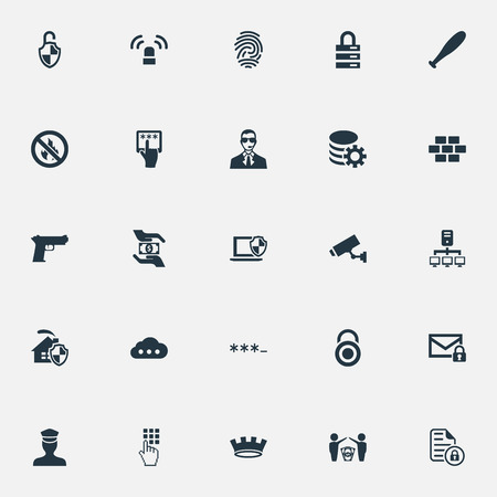 Vector Illustration Set Of Simple Secure Icons. Elements Fingerprint, Entering Password, Gear And Other Synonyms Shield, Stone And Antivirus.
