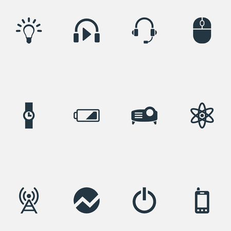 Vector Illustration Set Of Simple Technology Icons. Elements Hand Clock, Presentation, Headphones Synonyms Battery, Mind And Switch. Ilustrace