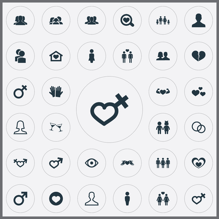 Vector Illustration Set Of Simple Lovers Icons. Elements Candidate, Male, Heart In Hand Synonyms Boy, Passion And Men.