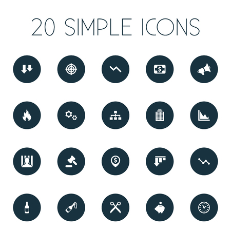 Vector Illustration Set Of Simple Situation Icons. Elements Descending Sales, Bar Graph, Graph Decreases And Other Synonyms Work, Downcast And Announcement.