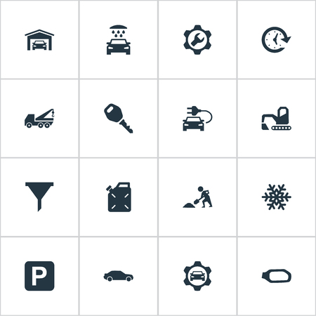 Vector Illustration Set Of Simple Automobile Icons. Elements Vehicle Building, Lock, Electro Car And Other Synonyms Funnel, Shovel And Motorcar. Ilustrace