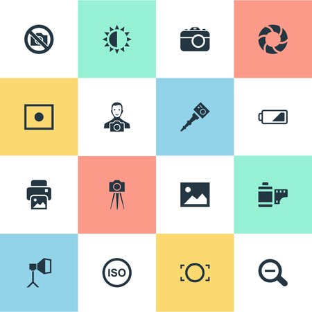 Vector Illustration Set Of Simple Photographer Icons. Elements Rustication, Movable Camcorder, Rim And Other Synonyms Portable, Tool And Prohibited. Illustration