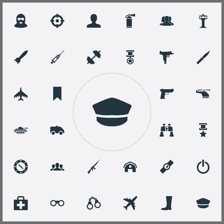 単純な軍事アイコンのベクター イラスト セット。要素の倉庫、航空管制官、テロリスト、他類義語チーム緊急とヘリコプター。  イラスト・ベクター素材