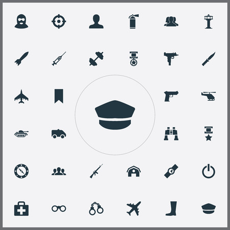 Vector Illustration Set Of Simple Military Icons. Elements Warehouse, Air Traffic Controller, Terrorist And Other Synonyms Team, Emergency And Helicopter. Illustration